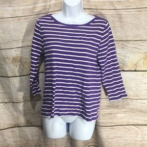 Chico's Size 1 purple white striped 3/4 length tee